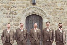 Brown Tweed Suits Groom Groomsmen Pretty Peach Bow Ties Gypsophila Wedding http://www.rebeccadouglas.co.uk/