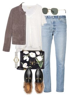 """""""Untitled #4030"""" by lily-tubman ❤ liked on Polyvore featuring RE/DONE, MANGO, Dolce&Gabbana, Gucci, Ray-Ban and Burberry"""