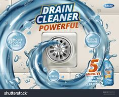 Find Drain Cleaner Ads Liquid Flushing Into stock images in HD and millions of other royalty-free stock photos, illustrations and vectors in the Shutterstock collection. Visual Advertising, Advertising Design, Detergent Bottles, Laundry Detergent, Business Poster, Drain Cleaner, Ad Design, Cover Design, Photoshop Design