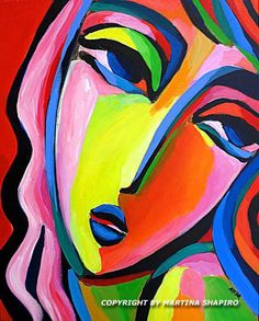 Abstract Girl In Pink And Red contemporary, abstract, fauve, expressionist original acrylic painting by artist Martina Shapiro Abstract Face Art, Contemporary Abstract Art, Abstract Portrait, Painting Abstract, Fauvism Art, Pop Art, Van Gogh Art, Hanging Art, Figure Painting