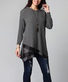 Another great find on #zulily! Charcoal Buffalo Check Asymmetrical Hem Hooded Tunic - Plus #zulilyfinds