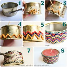 Find images and videos about diy, free crafts and paso a paso on We Heart It - the app to get lost in what you love. Tin Can Crafts, Diy And Crafts, Arts And Crafts, Recycle Cans, Diy Recycle, Mosaic Projects, Craft Projects, Diy Lampe, Soy Candle Making