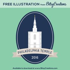 Philadelphia Temple Illustration Freebie from BitsyCreations #freeprintable #bitsycreations #lds #mormon #philadelphiatemple