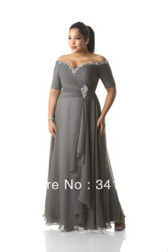 New Fashion Plus Size Mother of the Bride Dresses Chiffon Short Sleeve V Neck Beaded Free Shipping EL347.1