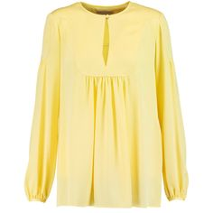 Emilio Pucci Stretch-silk blouse ($435) ❤ liked on Polyvore featuring tops, blouses, pastel yellow, yellow blouse, loose fit tops, beige top, keyhole blouse and loose fitting tops