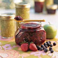 This easy freezer jam recipe uses fresh blackberries and strawberries, but other seasonal berries may be substituted.