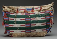 SIOUX BEADED HIDE TIPI BAG. c. 1880...