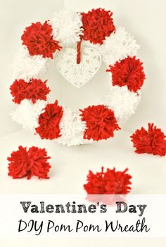 Easy Valentine's Day Crafts - Valentine's Day Pom Pom Wreath Tutorial