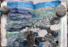 textile artist photography and mixed media - Carolyn Saxby Textile Art St Ives Cornwall A Level Art Sketchbook, Sketchbook Layout, Sketchbook Inspiration, Fashion Sketchbook, Sketchbook Ideas, Artist Sketchbook, Art Textile, Textile Artists, Water Art