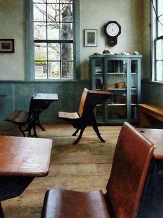 'Teacher - One Room Schoolhouse With Clock': Fine Art Prints by Susan Savad - design of a one room schoolhouse with its old-fashioned desks and octagonal pendulum clock