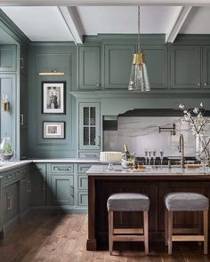 """Green is moving in as the new neutral for While some blues will still be around, green kitchens are suddenly on the """"It"""" list. design kitchen traditional Kitchen Trends The New Traditional Kitchen — Heather Hungeling Design Classic Kitchen, New Kitchen, Kitchen Decor, Kitchen Ideas, Kitchen Themes, Kitchen Colors, Kitchen Inspiration, Walnut Kitchen, Decorating Kitchen"""