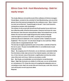claude meyer and hunt manufacturing Study flashcards on acc 306 week 2 ethics case at cramcom quickly memorize the terms claude meyer, assistant to the controller for hunt manufacturing.