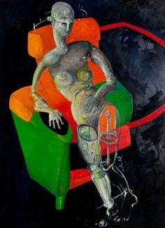 Francesca Magro – donna in poltrona olio su tela 140×100 olio su tela 2012