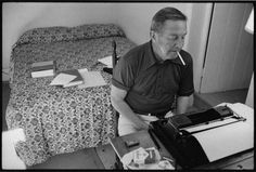 """Selections from the John Cheever Journals, """"Reading my own stories is like some intensely unhappy relationship with a mirror. The work is done and to return to it seems idle in the strongest. John Cheever, Writing Station, Work Pictures, Book People, American Literature, Literary Quotes, Photo Journal, Book Of Life, Vintage Pictures"""