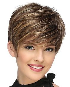 View Of All Images For Jett by Estetica Designs Short Asymmetrical Hairstyles, Short Wavy Pixie, Short Haircuts With Bangs, Short Brown Hair, Cute Hairstyles For Short Hair, Short Wigs, Trending Hairstyles, Easy Hairstyles, Short Hair Styles Easy