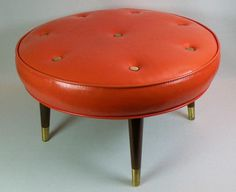 Vintage Naughahyde Couches | Large round vintage ottoman to complement your mid-century decor ...