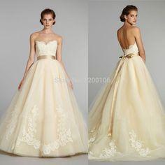 livraison gratuite 2014 jaune pâle dentelle bretelles corsage sash  champagne mariée robe de mariage robes( 444d08e7268b