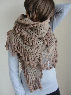Brown Shawl-Turkish Hand Knit Light Brown Shawl,2012 Trends,Spring and Fashion,Cotton Crocket Shawl,Fringed Shawl,Hand Crocket