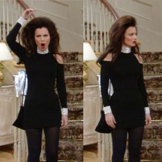 5 Dress Styles That Will Make You Look Thinner. While particular ladies wear products you see on the runway might look terrific on models, they might not look great on every woman. Nanny Outfit, Fashion Tv, Retro Fashion, Vintage Fashion, Ladies Fashion, Fashion Trends, Fran Drescher, Fran Fine Outfits, Cute Short Dresses