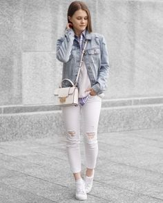A Little Detail - Light Wash Denim Jacket // Striped Button up // Grey Sweater // White Jeans // White Sneakers // #springfashion #fashion #denimjacket #whitejeans #adidassneakers #outfit #fashion
