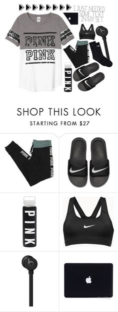 """""""OOOTD : I just cleaned out my locker. . . ."""" by meinersk45195 ❤ liked on Polyvore featuring Victoria's Secret PINK, NIKE, Beats by Dr. Dre and Victoria's Secret"""