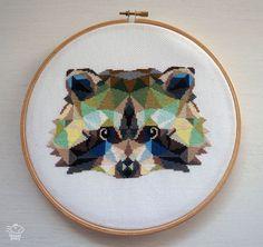 Cute Geometric Raccoon Cross Stitch Pattern by VelvetPonyDesign