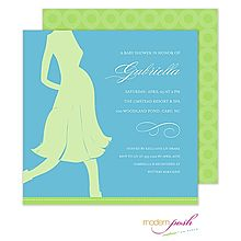 Pregnant Momma Baby Shower Invitation Blue And Lime Silhouette P From Little Angel Announcements