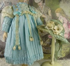 Wonderfull heavenly blue antique doll´s dress with antique doll´s hat from Stairway To The Past on Ruby Lane Doll Costume, Costumes, Ballerina Party, Stairway, Ruby Lane, Antique Dolls, Heavenly, Doll Clothes, Knit Crochet