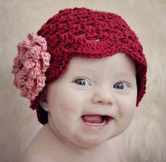 Be My Valentine Cluster Stitch Hat with NO-SEW Rose Crochet Pattern (407). $3.99, via Etsy.