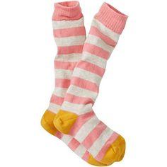 Stripey Knee Socks (16 AUD) ❤ liked on Polyvore featuring intimates, hosiery, socks, multi colored socks, multi color socks, colorful knee high socks, colorful long socks and long knee high socks