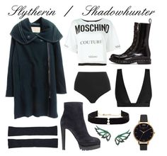 Shadowhunter/ Slytherin Casual #7/ #17 by alicepardus on Polyvore featuring polyvore, fashion, style, Moschino, La Perla, Zimmermann, Dolce&Gabbana, Sergio Rossi, Olivia Burton, Anissa Kermiche, Stephen Webster, Le Kasha and clothing