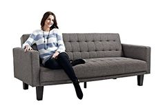 A modern approach to a classic piece. The DHP Sienna Futon is fully upholstered in a textured gray linen fabric with a neat and tailored look that works with most living room décor. Its tufted cushi...