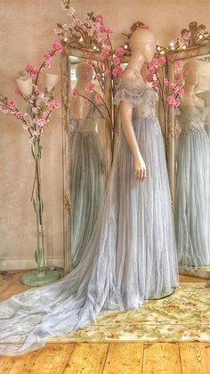 Romantic fairytale wedding dress in soft grey blue tulle with silver French lace bodice embroidered with a pair of kissing grey herons. Available made to order from the Joanne Fleming design studio. Pretty Dresses, Sexy Dresses, Fashion Dresses, Prom Desses, Fantasy Gowns, Bridal Gowns, Wedding Dresses, Lace Bodice, French Lace