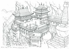 Asian Architecture, Architecture Sketchbook, Medieval, Environment Sketch, Rpg Map, City Drawing, Japanese Drawings, Background Drawing, Fantasy Illustration