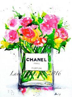 Chanel Fashion Love Art Print from Original Watercolor Painting - Fashion Illustration by Lana Moes - Chanel Inspired (30.00 USD) by LanasArt