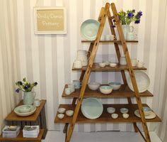 British Craft Trade Fair display, April 2014 Pottery Booth Display, Trade Show, Trade Fair, Wheel Thrown Pottery, Shop Interiors, Ladder Bookcase, Ladder Decor, Ceramics, Crafts