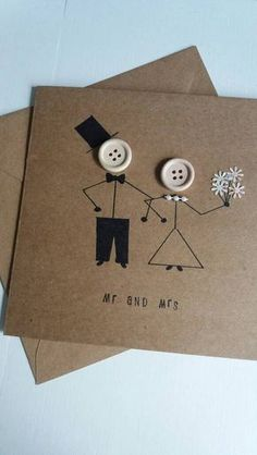 A lovely quirky wedding card with stickman bride and groom. Handmade on 250gsm card with 120 gsm envelope and measures 15cm x15cm.The card is left blank inside for your own message and is protected in a clear cellophane sleeve. Greeting can be changed to bride and grooms names or