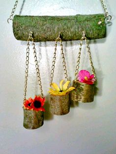 Hanging Flower Pot, Wood Planter, Succulent Planter, Decorative Planter, Patio P… - Modern Hanging Air Plants, Hanging Flower Pots, Hanging Planters, Patio Planters, Wooden Planters, Home Goods Decor, Cute Home Decor, Log Centerpieces, Decorative Planters