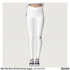 She Was Born To Be A Lover Leggings : Beautiful #Yoga Pants - #Exercise Leggings and #Running Tights - Health and Training Inspiration - Clothing for #Fitspiration and #Fitspo - #Fitness and #Gym #Inspo - #Motivational #Workout Clothes - Style AND comfort can both be achieved in one perfect pair of unique and creative yoga leggings - workout and exercise pants - and running tights - Each pair of leggings is printed before being sewn allowing for fun designs on every square inch - Medium…