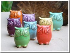 Colorful clay owls.