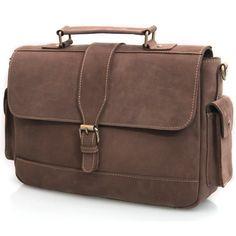 Vintage Handmade Genuine Crazy Horse Leather Briefcase Laptop Messenger Bag - Old Dark Brown