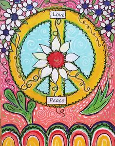 Items similar to Peace Sign Art Acrylic Painting, Groovy Art, Original Hippie Art Groovy Art on Etsy Hippie Peace, Happy Hippie, Hippie Life, Hippie Things, Peace Sign Drawing, Peace Sign Art, Peace Signs, Retro Kunst, Retro Art