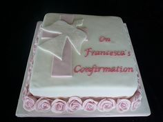Confirmation Party Ideas for girl Confirmation Cakes, Christening Cakes, Religious Cakes, Communion Cakes, Wedding Cookies, First Holy Communion, Occasion Cakes, Girl Cakes, Sweet Cakes
