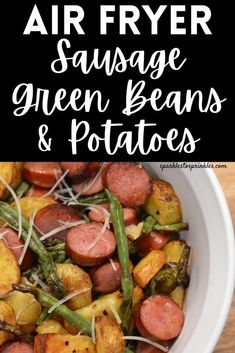 Air Fryer Sausage, green beans and potatoes is a quick and easy dinner or side dish to serve up. Perfectly seasoned potatoes and green beans that cook to a crispy texture, along with Kielbasa. Sausage And Green Beans, Green Beans And Potatoes, Kielbasa And Potatoes, Smoke Sausage And Potatoes, Seasoned Potatoes, Quick Dessert Recipes, Delicious Recipes, Cookie Recipes, Homemade Meatloaf