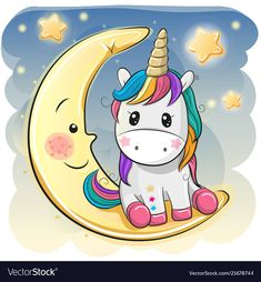Cute Cartoon Unicorn in a pilot hat is sitting on the moon cartoon kawaii Cute Cartoon Einicorn in einem Piloten, Stock-Vektorgrafik (Lizenzfrei) 1140120110 Unicorn Painting, Unicorn Drawing, Unicorn Art, Cute Unicorn, Unicorn Crafts, Moon Cartoon, Cartoon Unicorn, Cute Cartoon, Kawaii Drawings