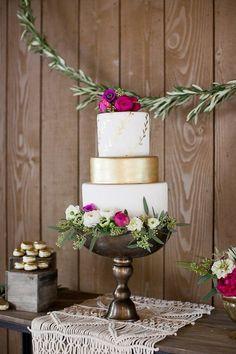 Elegant Bohemian Wedding Inspiration Gold & White Wedding Cake by Frost It Cakery #bohemianfashion,