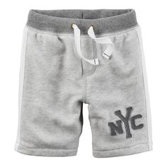 """Toddler Boy Carter's """"nyc"""" Applique French Terry Knit Shorts, Size: 5T, Light Grey"""