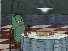 "53 ""Spongebob"" Screenshots That Are Even Funnier Out Of Context Memes Spongebob, Cartoon Memes, Spongebob Squarepants, Cartoons, Cartoon Crazy, Cartoon Pics, Plankton Spongebob, Pineapple Under The Sea, Eating Alone"