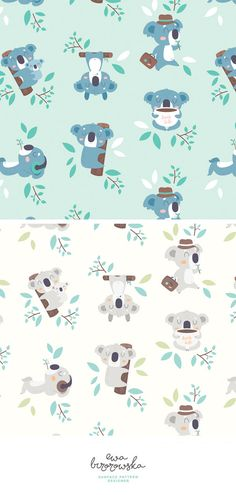 Hug life - textile surface pattern design with koala motif on mint or beige background. Hug life is about slow life!