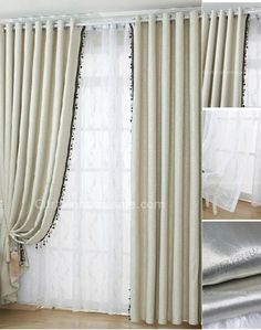 $79 Beige Beading Energy Saving and Thermal Blackout Curtains as Room Dividers